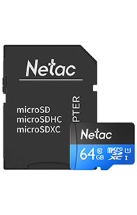Купить карта памяти netac p500 standard 64 gb class 10  sd adapter