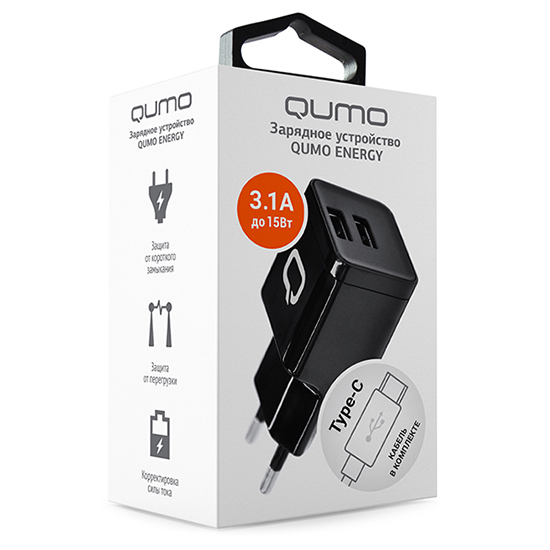 Купить сзу qumo 2usb-a 3.1a    energy charger 0061 + дата кабель type c